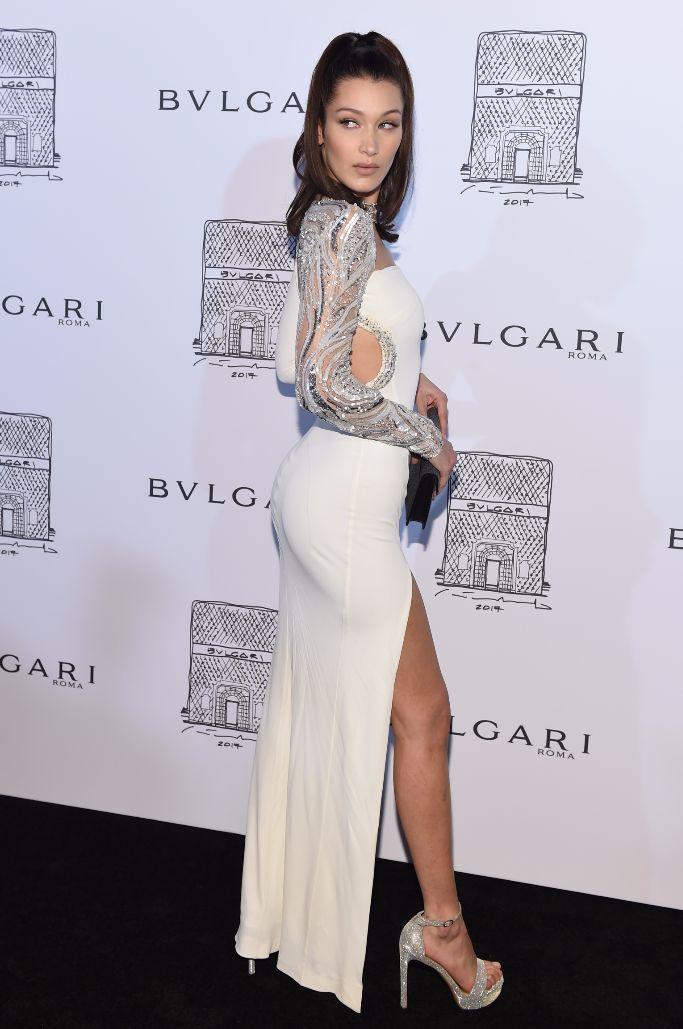Bella Hadid wearing Stuart Weitzman Sohot platform sandals, bulgari