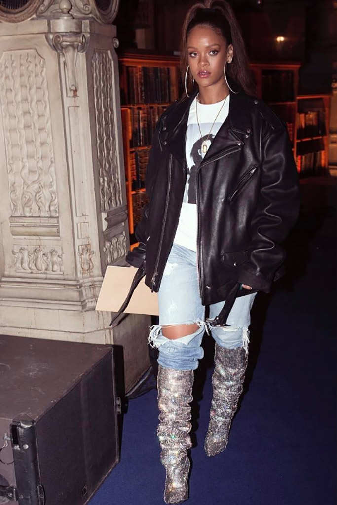 Rihanna wearing Saint Laurent's fall '17 crystal boots