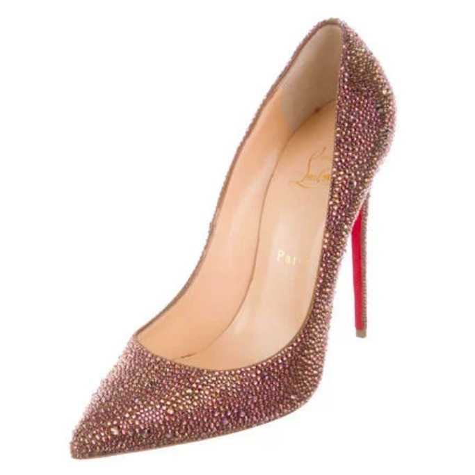 Gold-tone suede strass Christian Louboutin Pigalle Follies