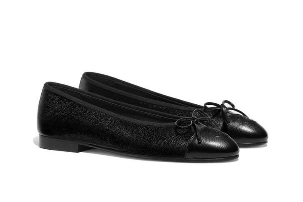 black calfskin leather ballerinas