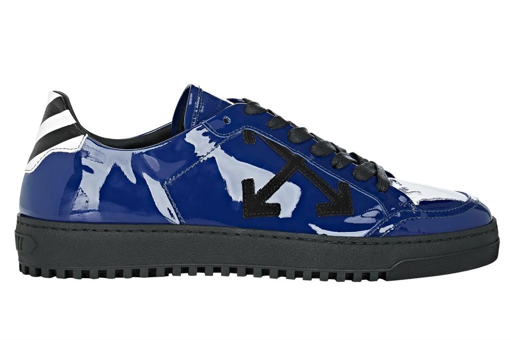 Off-White arrow-appliquéd blue patent leather low-top sneakers