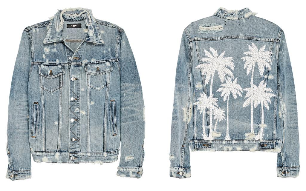 Amiri Swarovski palm tree trucker jacket.