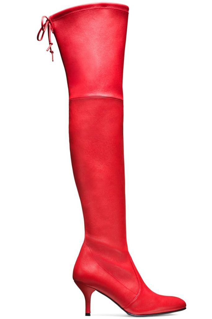 stuart weitzman over the knee tiemodel red leather kitten heel boots