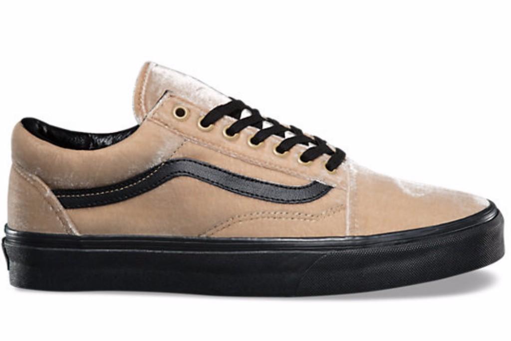 tan and black velvet old skool sneaker vans