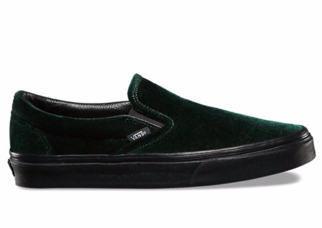 vans green velvet slip on sneaker
