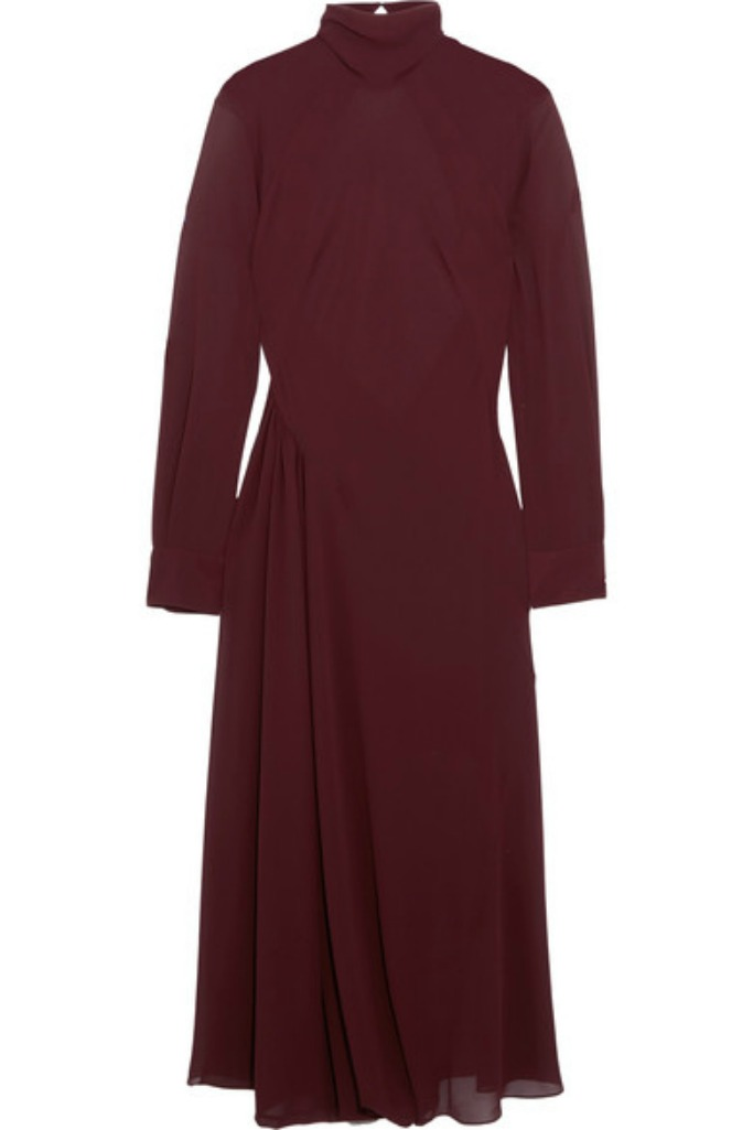 Victoria Beckham Gathered georgette turtleneck midi dress