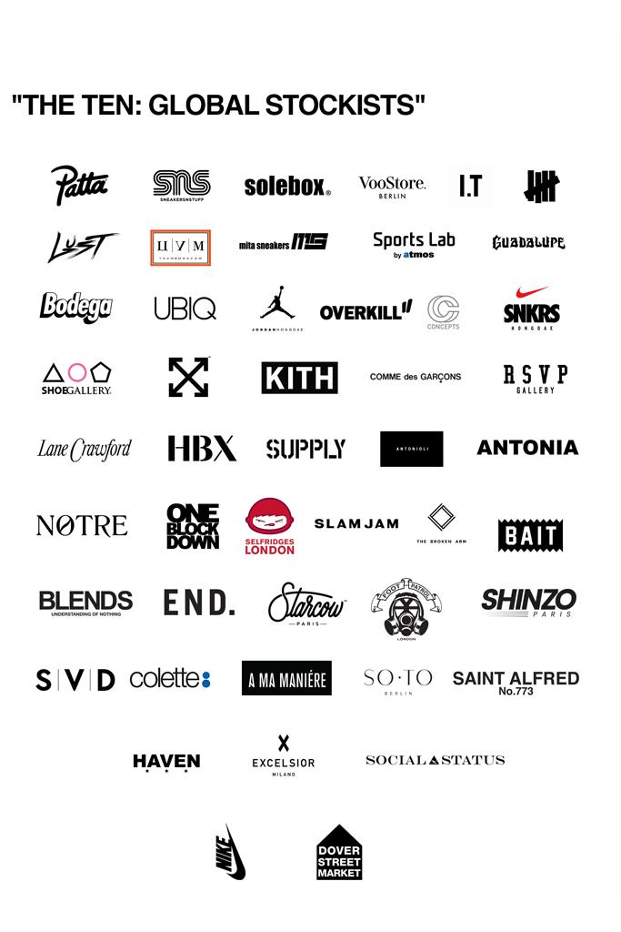 Off-White x Nike The Ten Retailers