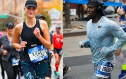 Karlie Kloss and Kevin Hart run