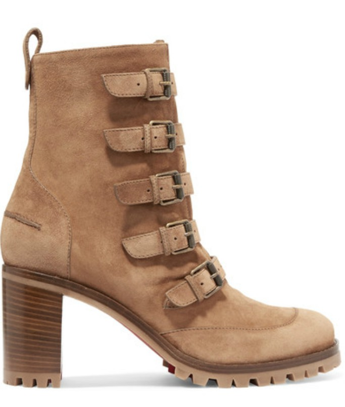 christian louboutin who walks suede buckled ankle boot