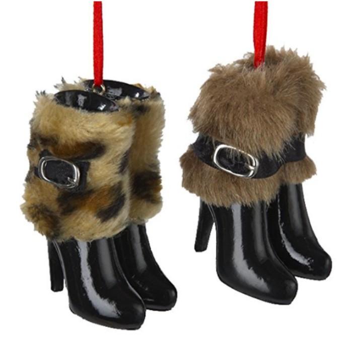 Kurt Adler3-Inch Resin Boots with Fur Ornament Set