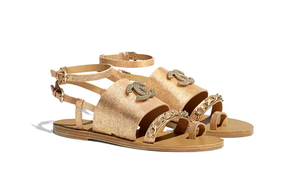 Chanel gold lamé sandals, $1150