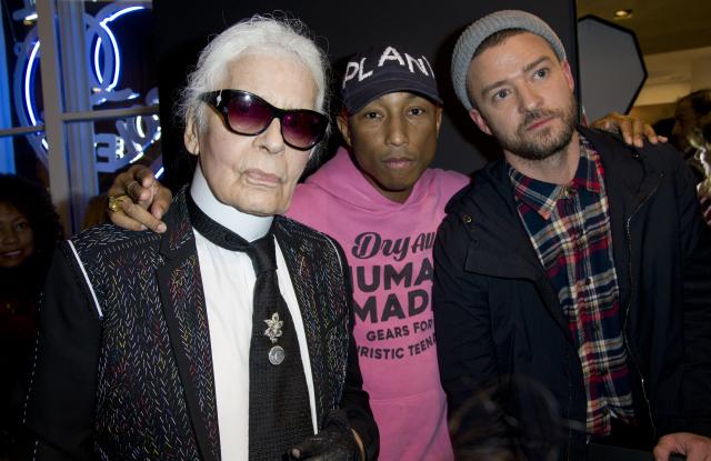 L-R: Karl Lagerfeld, Pharrell Williams, Justin Timberlake