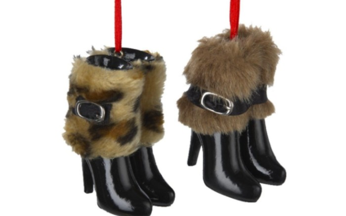 kurt adler boots with fur ornament