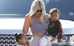 KIm Kardashian takes North and Saint
