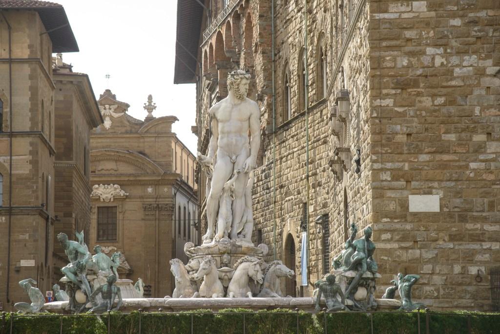 The Fountain of Neptune in Florence's Piazza della Signoria.