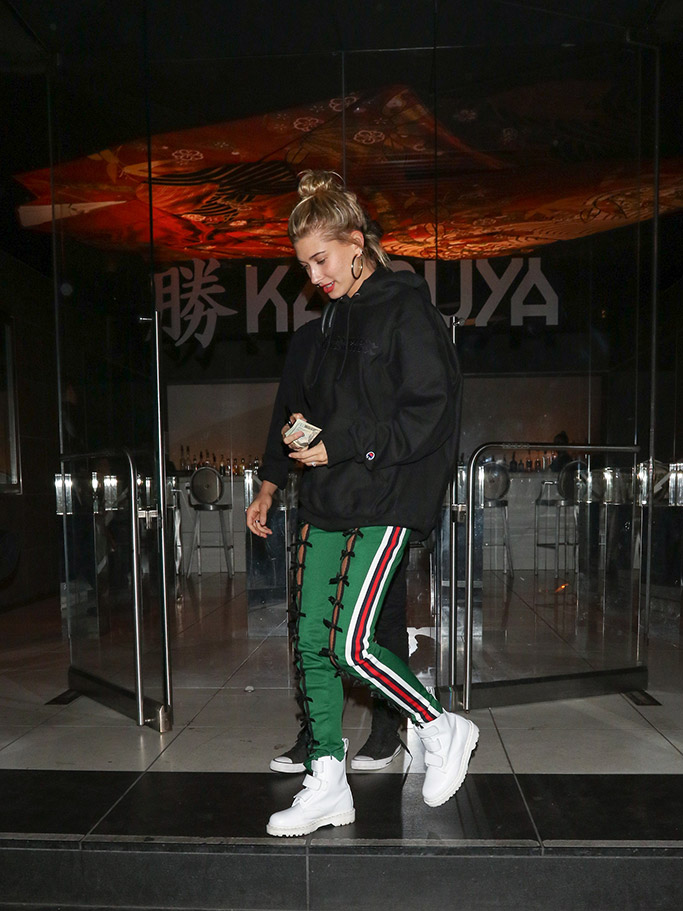 Hailey Baldwin , Champion, Gucci, Dr Martens