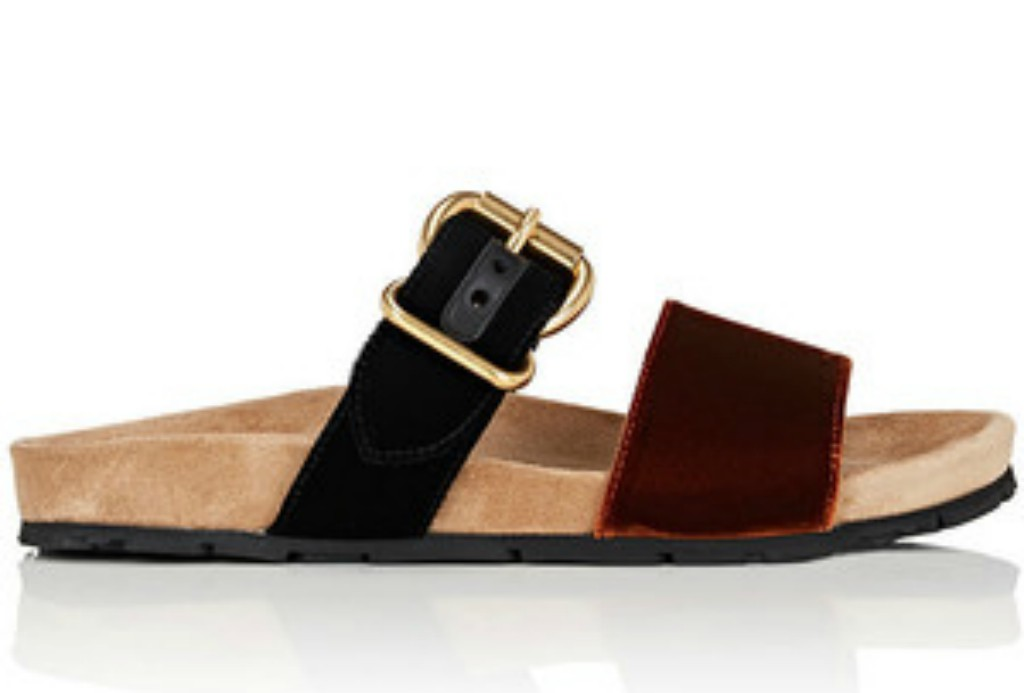 PRADA Velvet & Suede Double-Band Slide Sandals