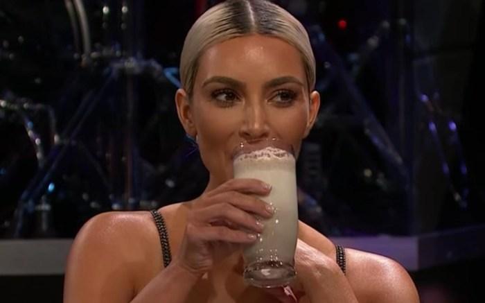 kim kardashian james corden, sardine smoothie