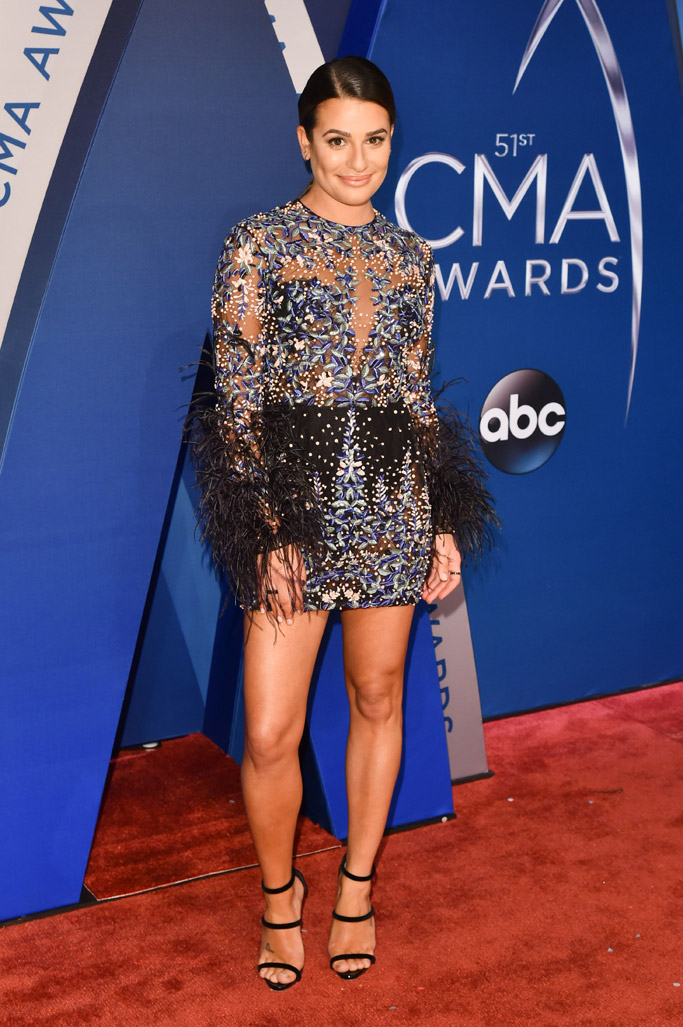 Lea Michele, CMAs, dress, giuseppe zanotti harmony sandals, feet, tattoo
