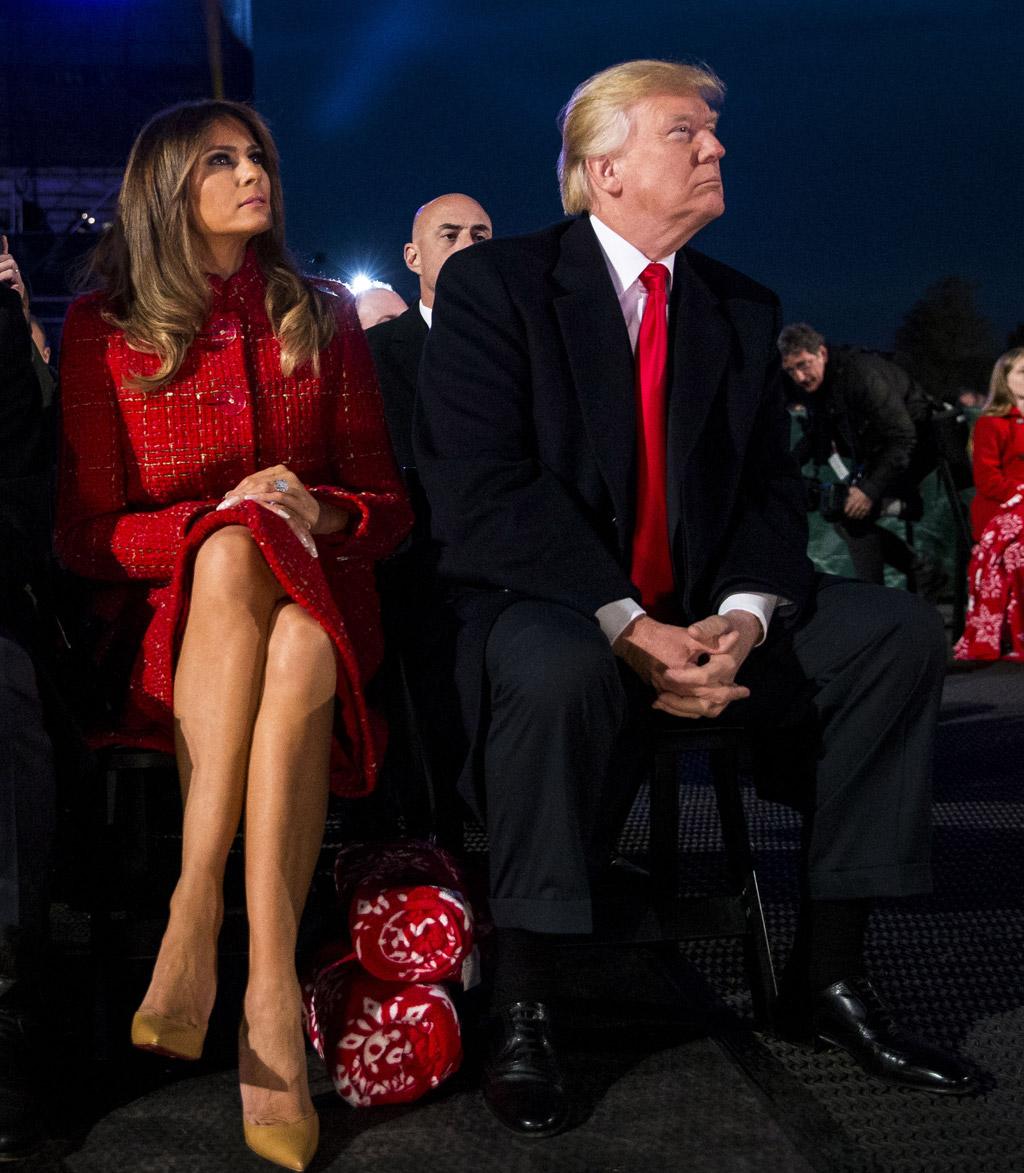 melania trump, donald trump, nude, christian louboutin so kate pumps, red chanel coat, national christmas tree lighting