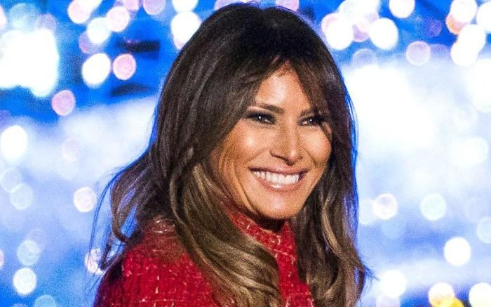melania trump christmas tree lighting red dress and nude christian louboutin so kate pumps, donald trump, white house