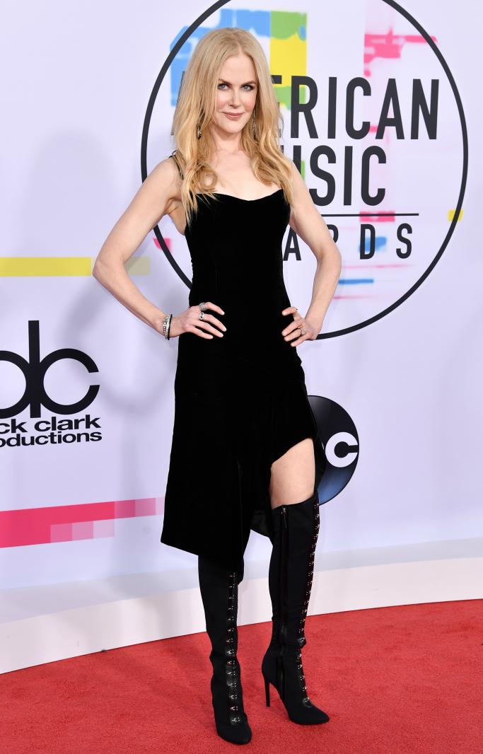 Nicole Kidman, 2017 American Music Awards, giuseppe zanotti 'JANICE HIGH' Black Corset Over-the-Knee Boot