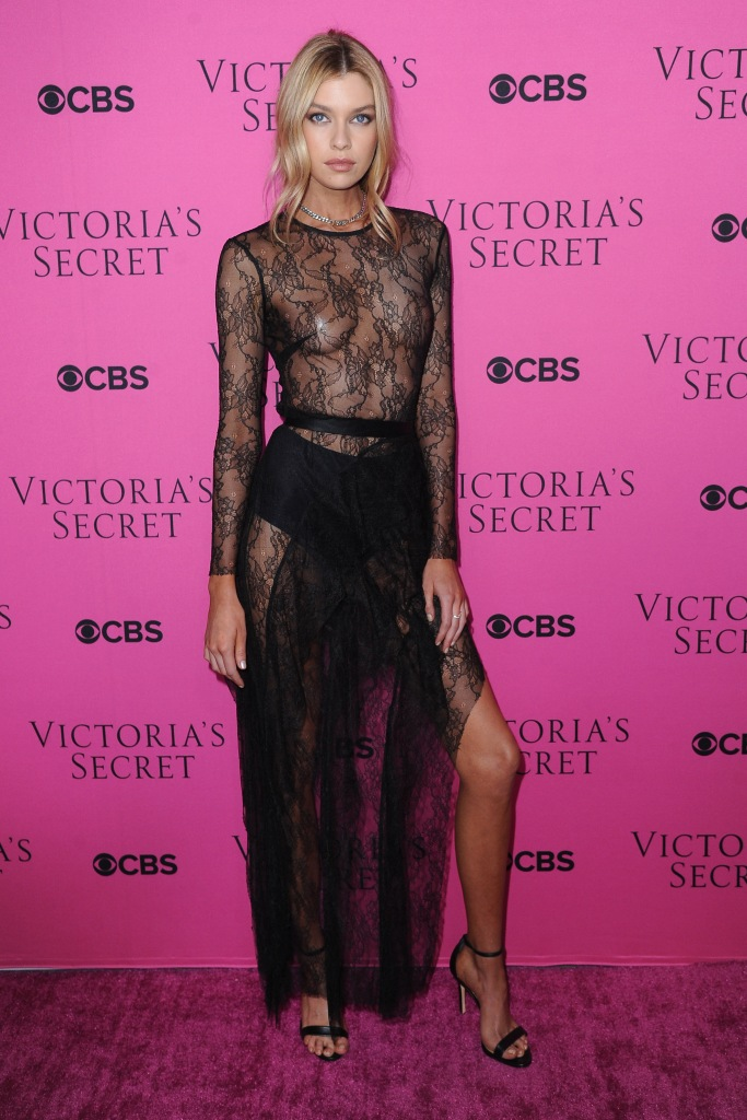 Stella Maxwell wears sheer dress to Victoria's Secret Fashion Show party.