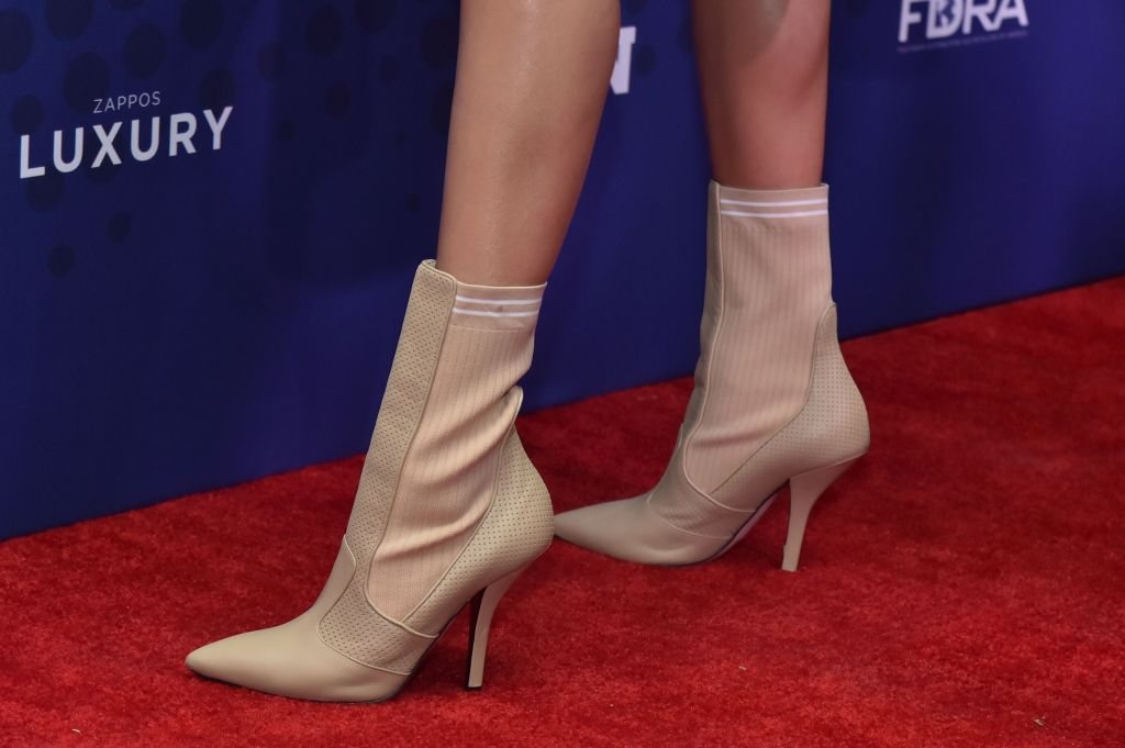 Hailey Baldwin, shoe detail, attends the Footwear News Achievement Awards at the IAC on November 28, 2017 in New York31st Annual Footwear News Achievement Awards, Arrivals, New York, USA - 28 Nov 2017