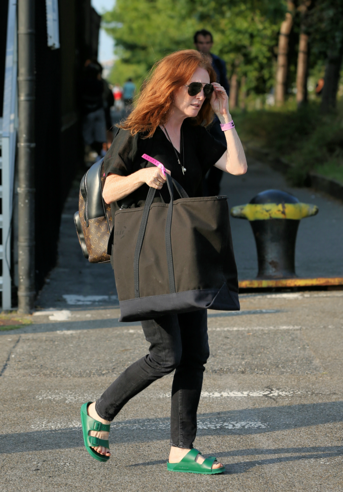 Julianna Moore wearing Andreas Murkudis x Birkenstock flat buckled sandals
