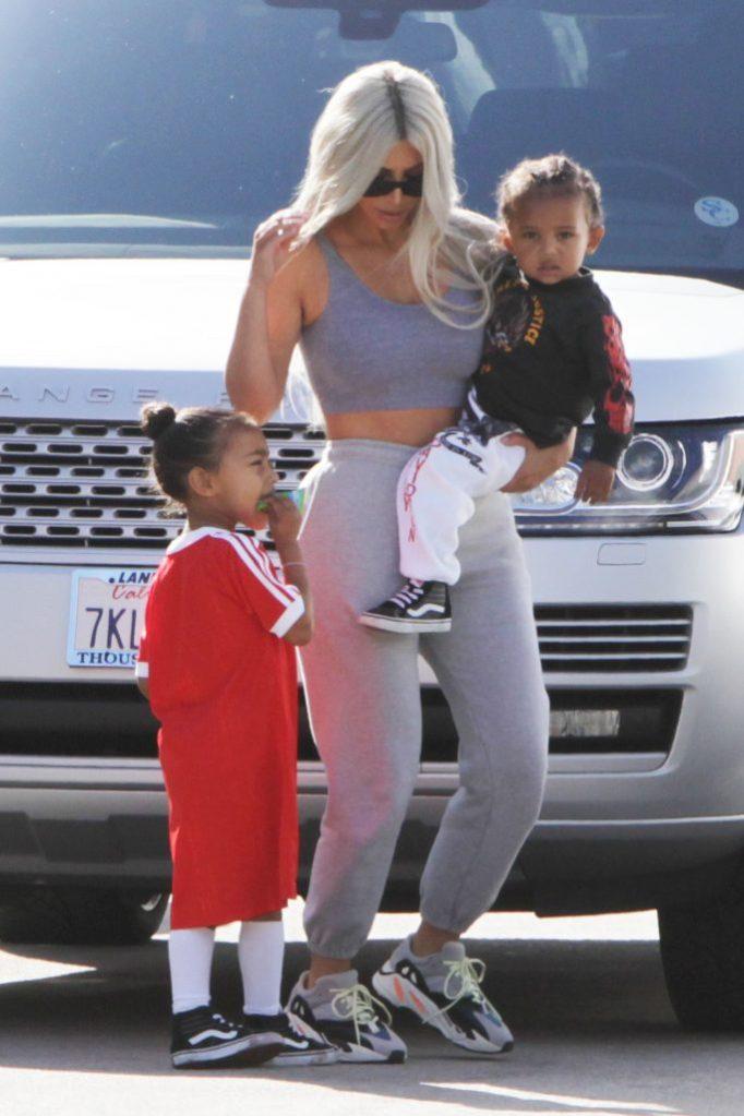 KIm Kardashian takes North and Saint to GlowZone.