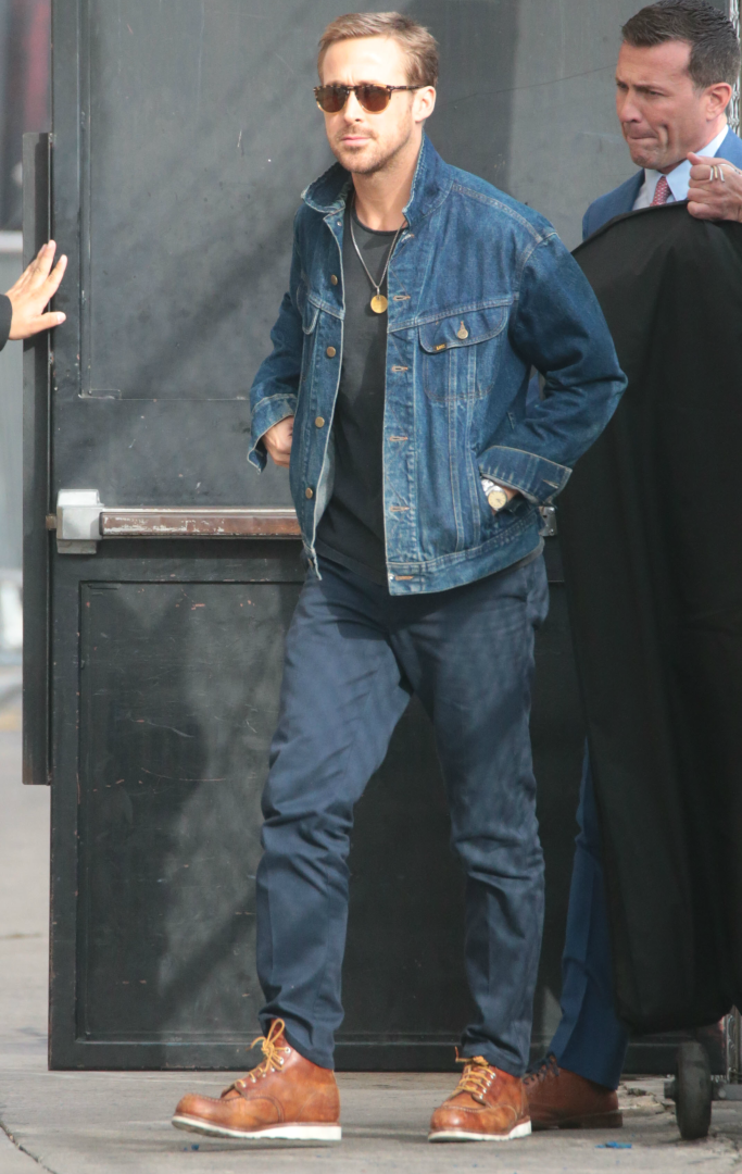 ryan gosling, red wing heritage moc toe boots
