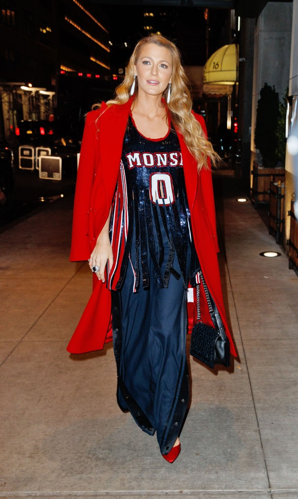 Blake Lively wears a basketball outfit for her 7th outfit change of the day in New York City.