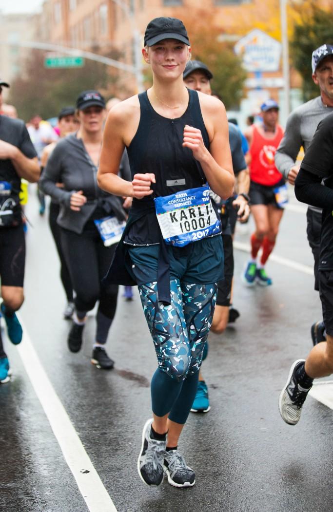 Karlie Kloss wearing Adidas by Stella McCartney Ultraboost sneakers, nyc marathon