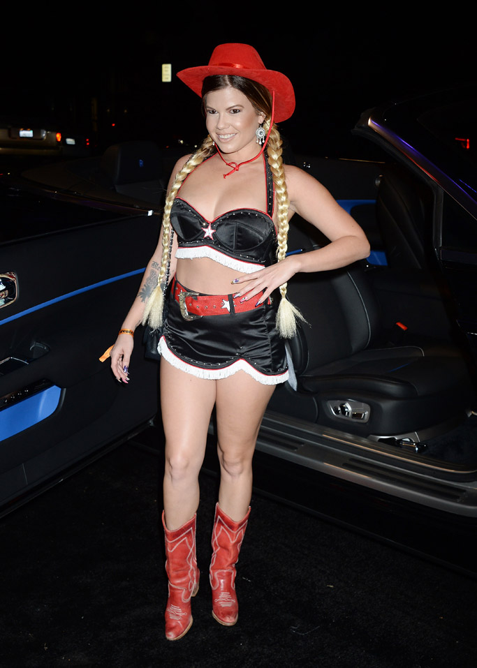 chanel west coast, boots, treats magazine party 2017, halloween costume