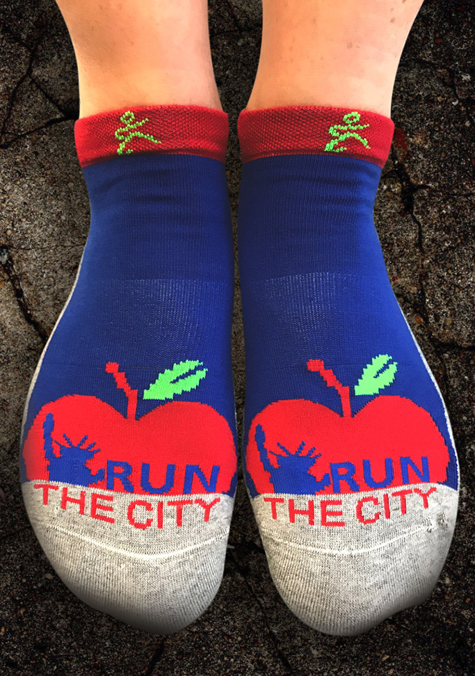 Balega NYC Marathon themed socks