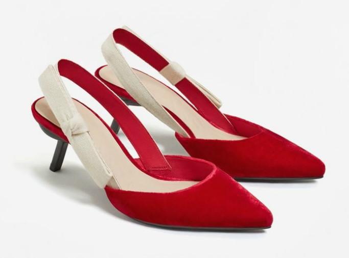 MangoVelvet Slingback Shoes
