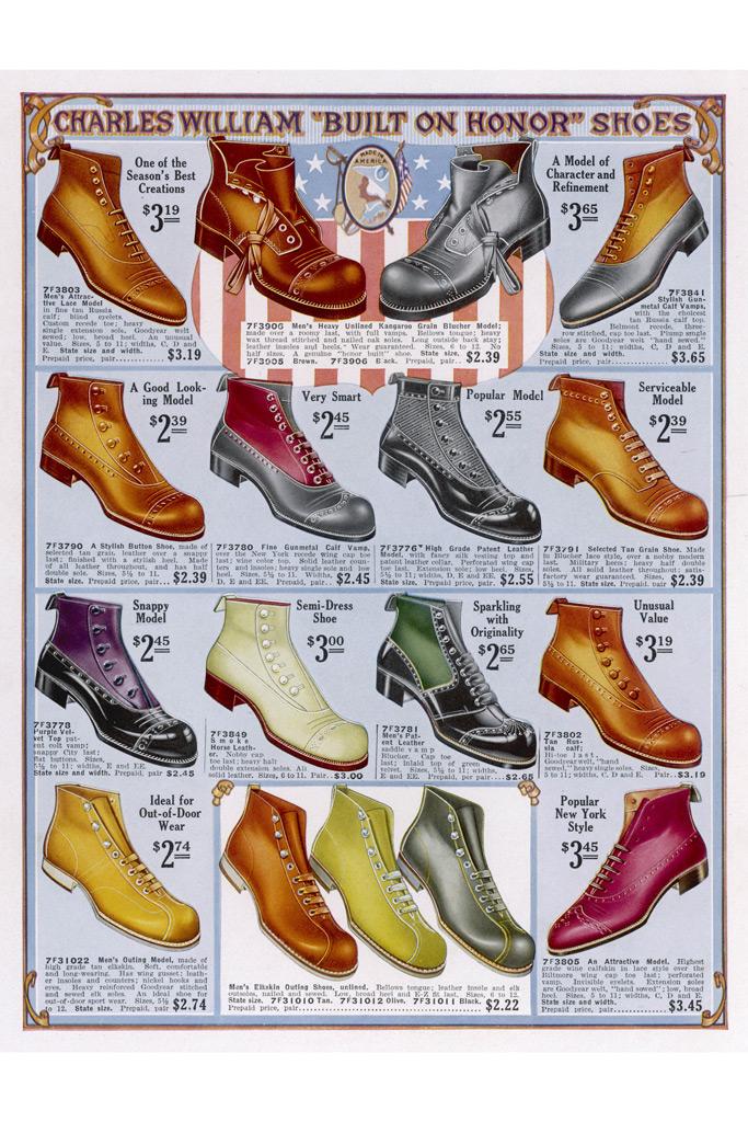 1916 boots, men's, women's