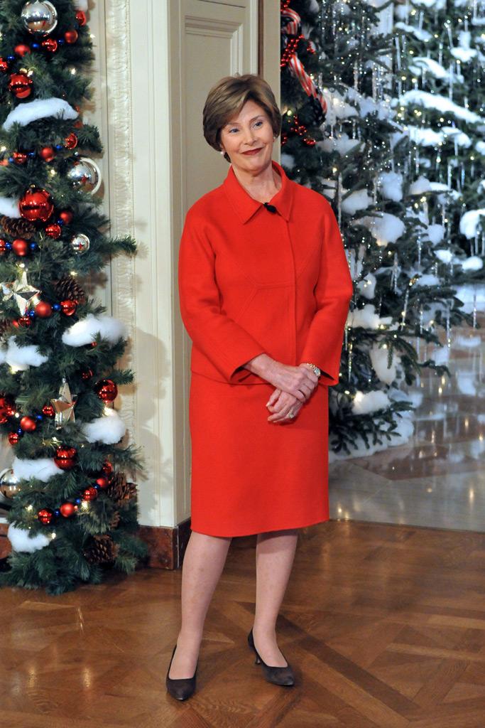 laura bush, white house christmas decorations 2008