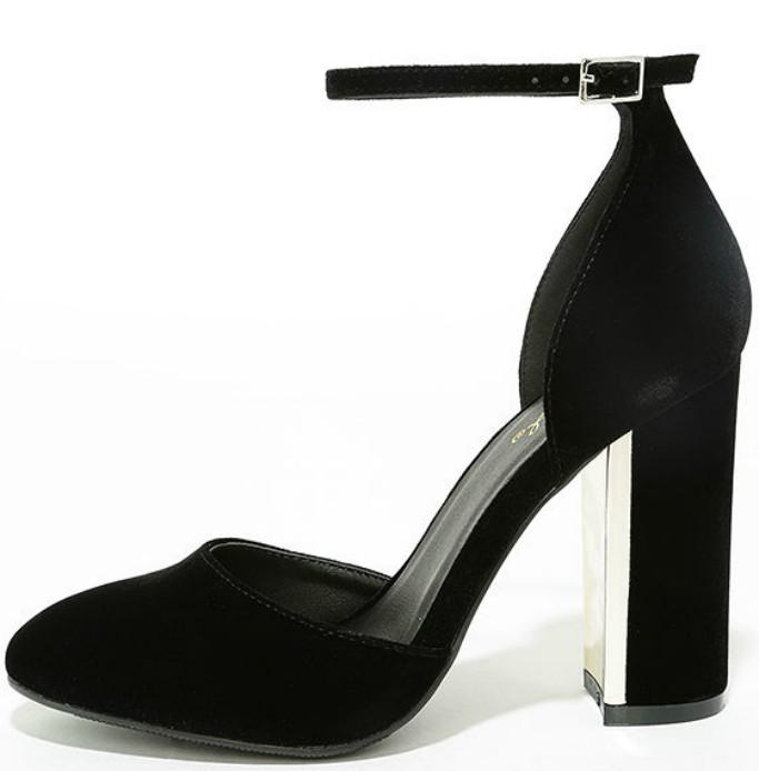 lulu's Laura Black Velvet Ankle Strap Heels