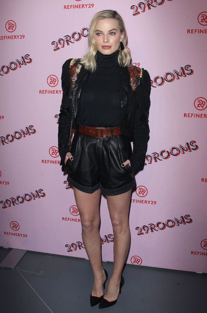 Celebs Take Over 29Rooms West Coast Debut, margot robbie, pierre hardy laser pumps, leather shorts, Saint Laurent's spring 2018 collection