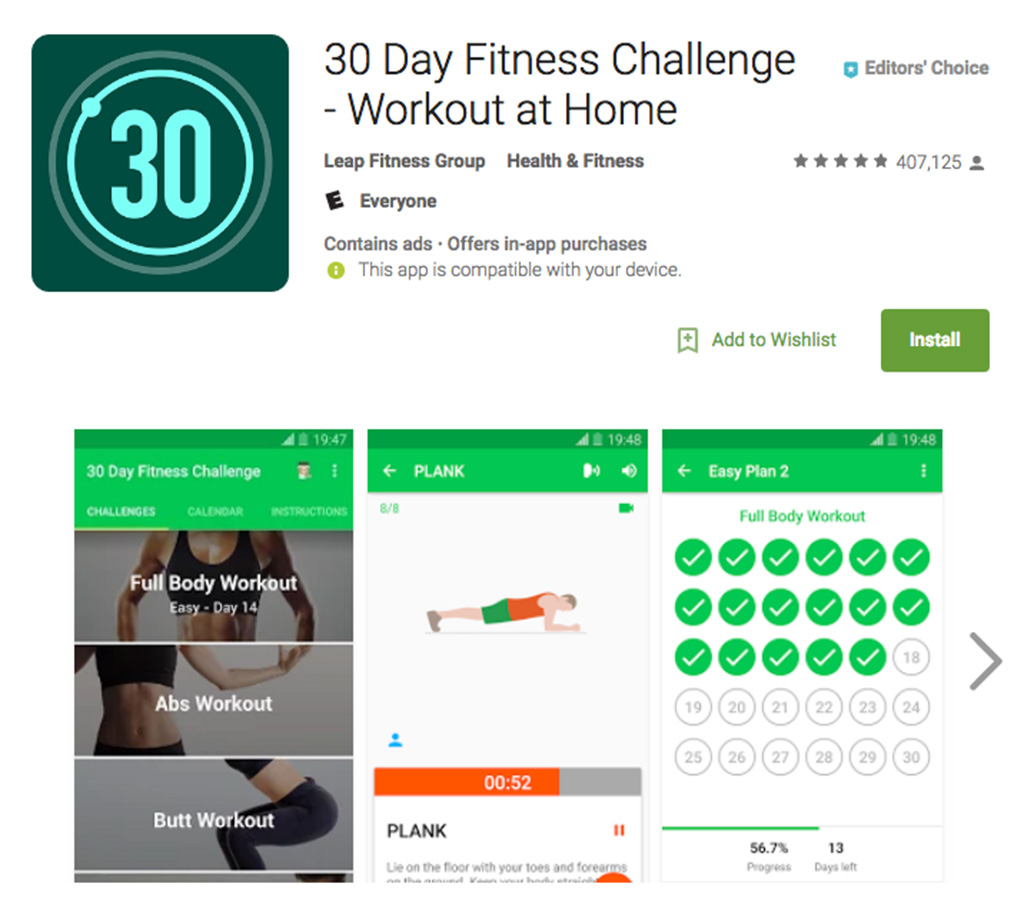 30 Day Fitness Challenge — Workout at Home