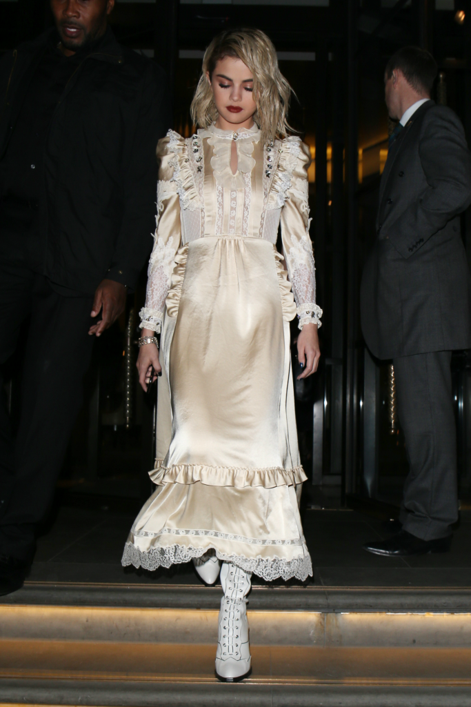 selena gomez, white boots, coach dress