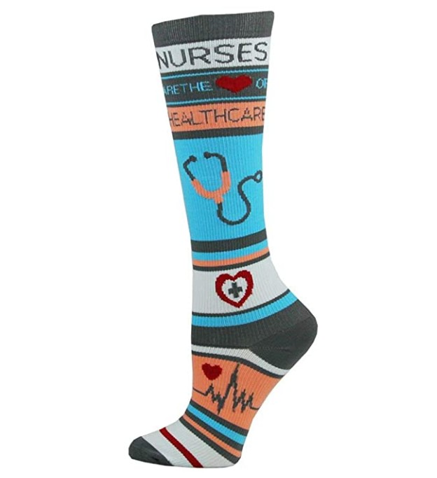 Think Medical Women's Nurse Print 10-14mmHg Compression Socks