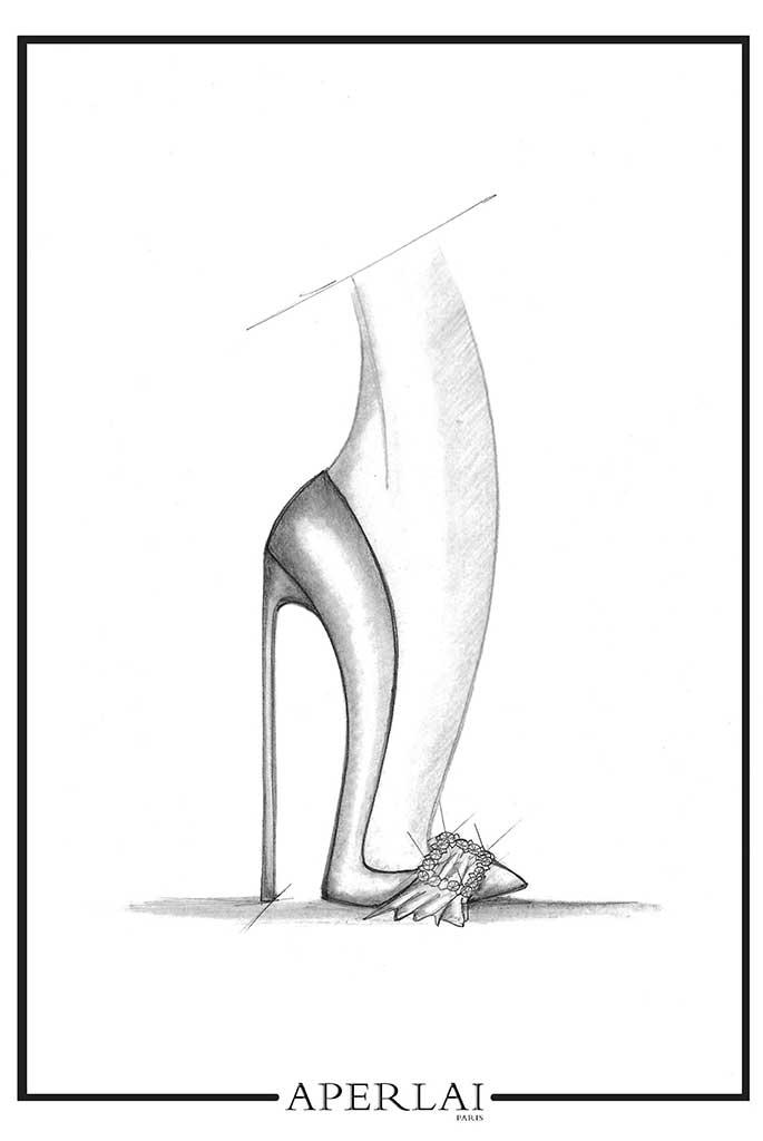Aperlai fantasy wedding shoe sketch for Meghan Markle by Alessandra Lanvin.