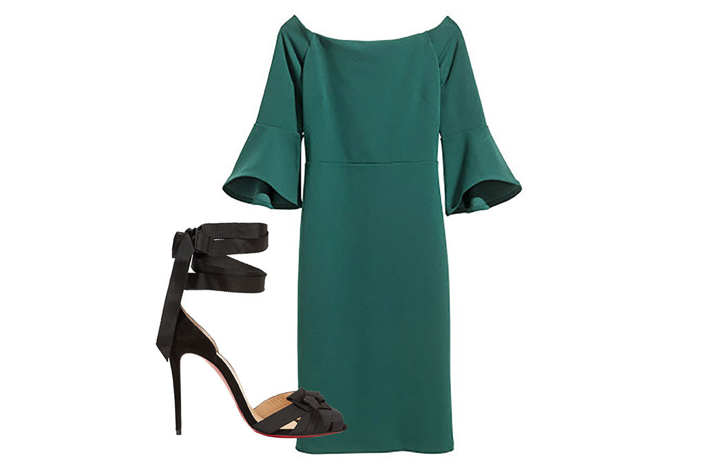 green dress, sandals, holiday party outfit ideas