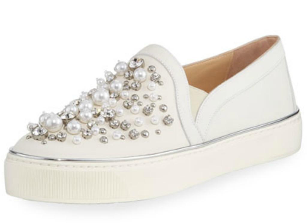 Stuart Weitzman Decor Pearl-Embellished Nubuck Sneaker