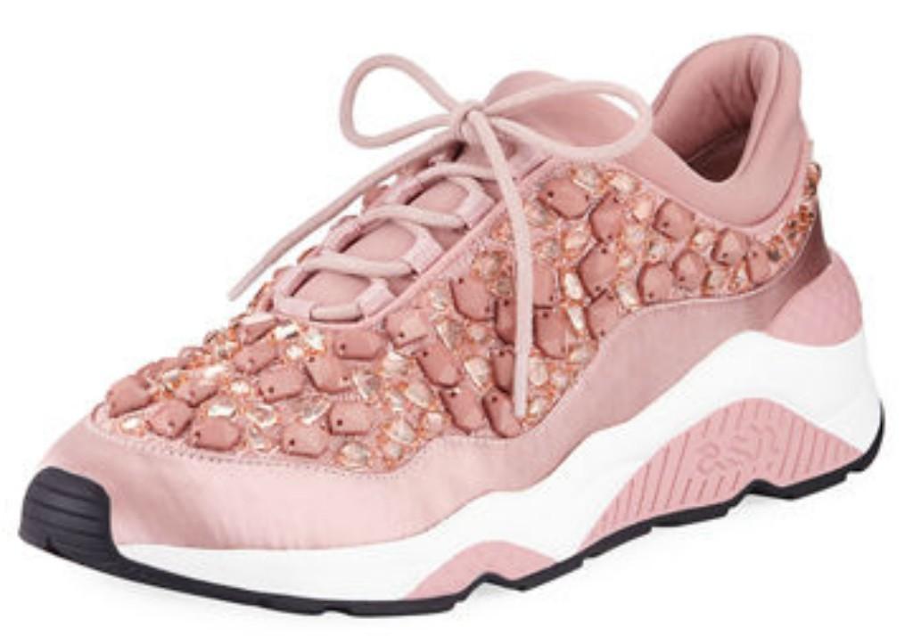 Ash Muse Crystal-Embellished Satin Sneaker