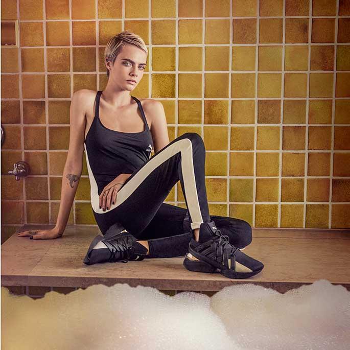 Cara Delevingne in the bath in Puma's DO YOU spring '18 campaign.