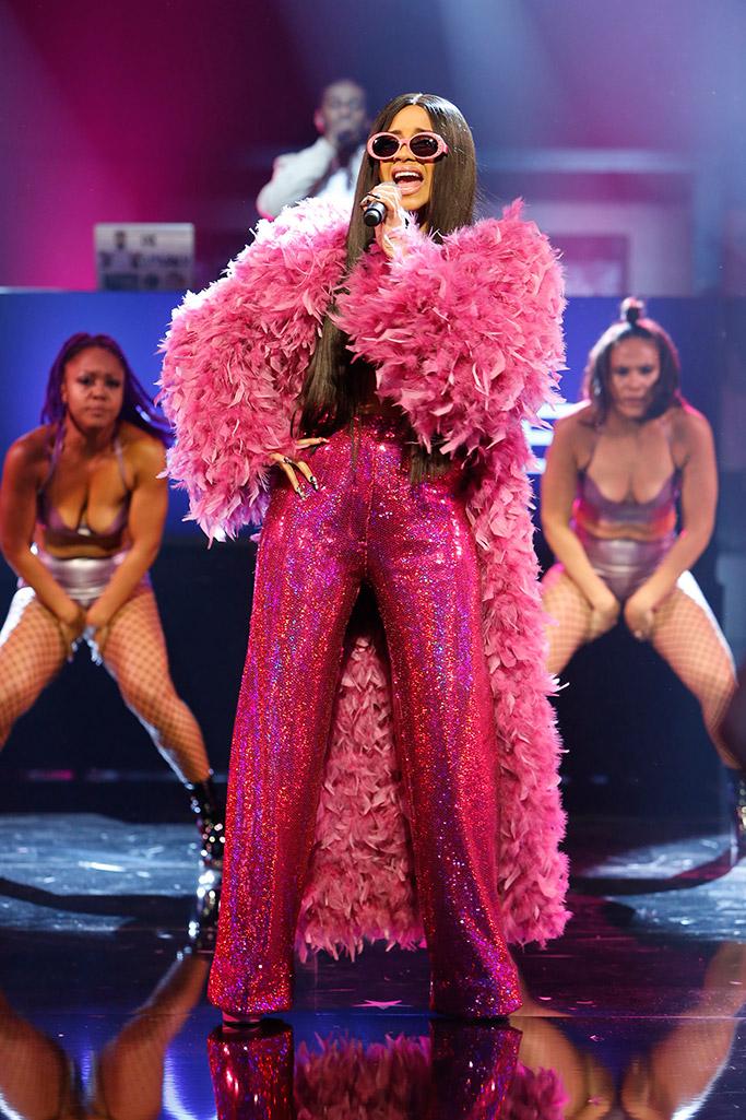 cardi b, jimmy kimmel live, adrienne landau pink feather coat