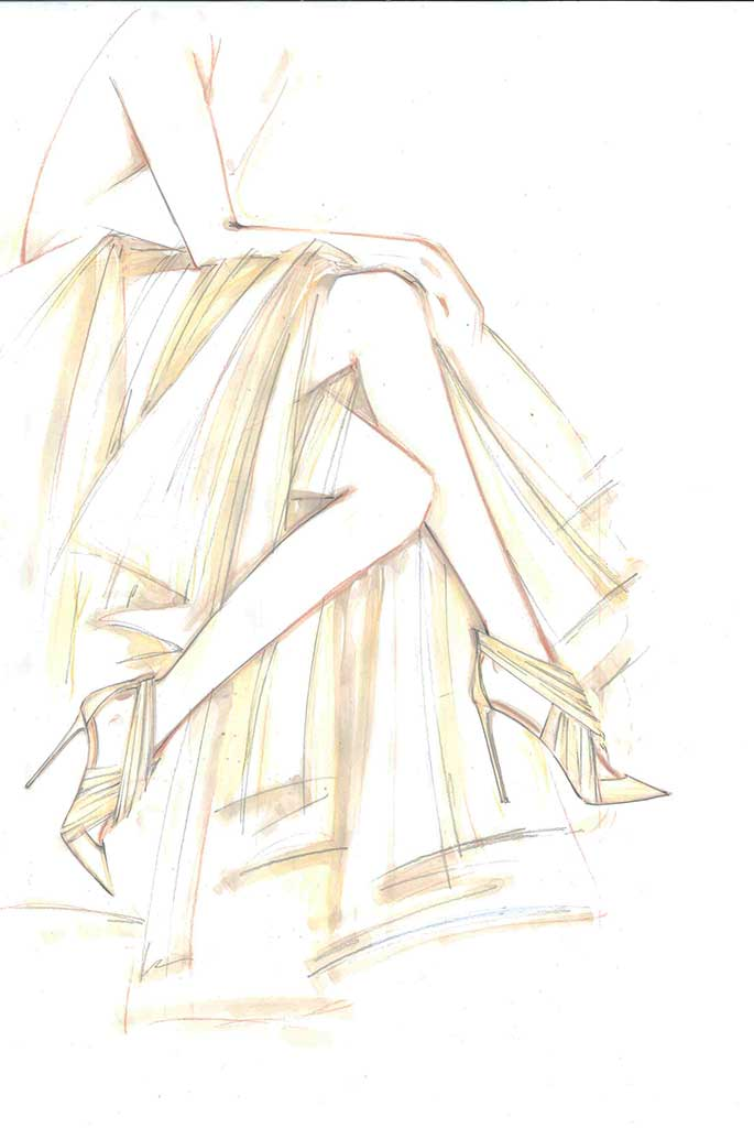 Casadei fantasy wedding shoe sketch for Meghan Markle by Cesare Casadei.
